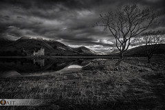 Kilchurn Awe (Tait Images) Tags: scotland loch awe tree castle black mono canon landscape water sky reflection
