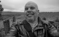 Happy in the countryside. (CWhatPhotos) Tags: cwhatphotos view photographs photograph pic pics photo photos images image foto fotos that have which contain with canon 5d mk iii eos dslr sacriston county durham summer august 2016 time face portrait smile countryside walkwax jacket selfee bald man happy said lens black white mono monochrome
