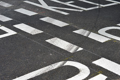 New Bridge St. 16aug16 (richardbw9) Tags: london uk england city street urban writing words londonstreetphotography cycling sign warning road junction newlypainted freshlypainted tarmac macadam chalklines giveway keepclear angle cross contrast newbridgestreet tudorstreet cyclesuperhighway blackfriars tyremark