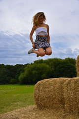 Matter of Perspective (littlestschnauzer) Tags: maize maze cawthorne 2016 summer games hay bales stack leap jump bex up perspective high height airborne august yorkshire countyside