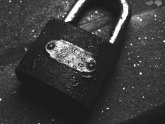 Portrait of a Padlock (Mirza Rashed Kaisar) Tags: lock stilllife padlock object fineart blackwhite water droplet