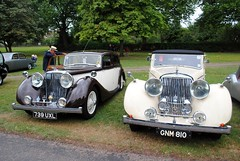 Two Jags (zawtowers) Tags: windsor berkshire england royal september 2016 cloudy rainy saturday afternoon concours elegance great park long walk classic historic cars vehicles jaguar cream black colour iconic