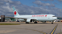 Air Canada 767 At Heathrow. (spencer.wilmot) Tags: cftca ac aca aircanada egll lhr london heathrow ramp apron taxiway clouds plane widebody longhaul heavy jet jetliner aviation airplane aircraft airliner airport airside boeing b767 b763 767 763 767300 toothpaste