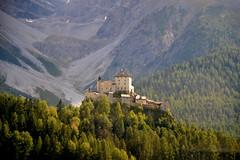 Tarasp castle (echumachenco) Tags: tarasp castle schloss forest rock scree august summer engadin unterengadin alps alpen grisons graubnden switzerland schweiz suisse svizzera suiza nikond3100