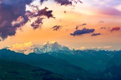 Sunset over Mont-Blanc (ChAape) Tags: vert landscape summer france sun cloud sky light sunset mountain clouds mountains color evening alps savoie orange alpes magenta colorful foggy mont blanc soleil