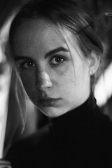 self-portrait (Adanethel) Tags: self portrait selfportrait auto girl woman art black white