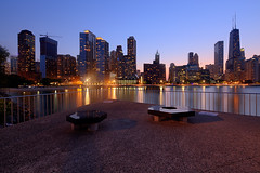 (Kevin Dickert) Tags: city urban lake chicago skyline architecture night kevin lakemichigan shore bluehour lakefront gettyimages johnhancockcenter ohiostreetbeach dickert iamhydrogen canontse17mmf4l miltonleeolivepark