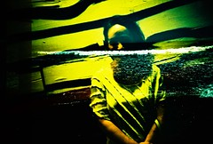 lomo blue kart-101 (Chattakat) Tags: ocean sea water smile lines sunshine yellow lady dark waves doubleexposure murky blend filmisnotdead lomolomographyrussianlensanalogue35mmfilmanaloge6slide lomolomographyrussianlensanalogue35mmfilmanaloge6slidefilmxprocrossprocessedscankodakektachromeeb100