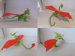 western dragon and updated wyvern (OrigamiFanPete) Tags: sculpture color bird art monster paper out design origami dragon diagonal plastic figure western beast change inside drake creature mythology base paperfolding myth folding grafting drache wyvern mythical graft mythological wurm pleating wyrm pleat