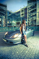 (mblsha) Tags: girl rain redrose porsche boxster strobism afszoomnikkor1735mmf28difed