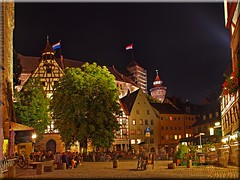 Nuremberg - The square in front of the Tiergrtnertor by night and day (Ostseetroll) Tags: night square day nacht platz tag nuremberg nrnberg tiergrtnertor