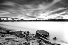 at the end of the day (dK.i photography) Tags: longexposure light sunset blackandwhite usa motion beach clouds river pier movement fishing day cloudy smooth maryland boulders annapolis silky waterscape severnriver navalacademybridge ef1740f40l jonasgreenstatepark canon5dmkii 131seconds singhrayrgnd edwardkreis leebigstopper dkiphotography