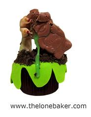 Attack of the Swamp Zombie cupcake (The Lone Baker) Tags: green halloween chocolate cream cadbury cupcake freddo fondant freddofrog easyhalloweencupcake