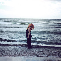 Beacon (rebeccapalmer.) Tags: ocean sea lake selfportrait water hair waves chaos wind horizon lakeontario beacon texturebybrookeshaden