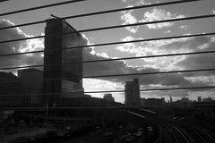 Losing focus (and the moon rose) Tags: city urban london station architecture poplar dlr poplardlrstation dlrstation