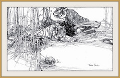 1915 ca -  Tigers, Illustration    Pen and Ink drawing by Franklin Booth (carlylehold) Tags: mobile illustration pen ink booth franklin drawing picture smartphone haefner carlylehold solavei