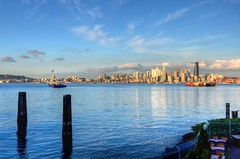 Seattle in late afternoon (Brian Xavier) Tags: seattle city seascape water pier cityscape northwest bluesky citylights alkibeach spaceneedle nightscene timeexposures