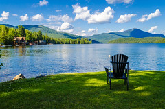 Lake Placid (PlotzPhoto) Tags: summer sky mountain lake newyork mountains green nature clouds landscape chair nikon relaxing scenic peaceful upstate adirondacks upstateny upstatenewyork newyorkstate tranquil adirondack whiteface lakeplacid adirondackmountains d5100