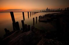 Autumn sunrise (matt_frankel) Tags: autumn lake chicago fall beach water colors skyline sunrise nikon warm long ex