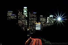 Freeway-to-L.A. (Panas Photography) Tags: urban cityscape skyscrapers nightsky downtownla laskyline traillight