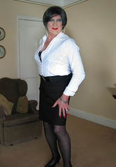 Black office (fionaxxcd) Tags: red high panty tights hose nails heels earrings stilettoes
