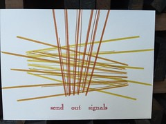 Send Out Signals (artnoose) Tags: radio berkeley noise sound patreon etsy club month print letterpress type metal rule open caslon red orange lines signals out send
