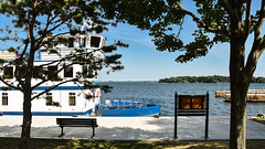The Kawartha Voyageur takes a rest in Gananoque (PJMixer) Tags: 52weekproject gananoque nikon summer boat family river trees