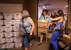 Stacking Boxes of Ban Signatures (Greenpeace USA 2016) Tags: colorado ban fracking petition truck delivery fossilfuel oil gas denver coalition