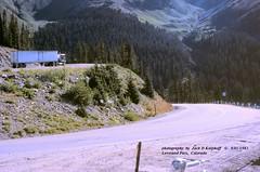 1979 White over Loveland Pass, CO 09-01-1982 (jackdk) Tags: truck tractor tractortrailer semitruck semi white whiteroadcommander whitemotortruck 78white 1978white 1979white 1979 colorado loveland lovelandpass lovelandpasscolorado mountains mountainpass