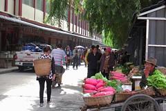 vegetable market (ababh) Tags: sichuan ganzizangzuzizhizhou street alley allee market willow shade      radish  easttibet khams darzed