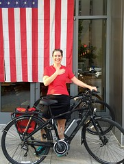 Kristen and new E-Bike (Mr.TinDC) Tags: people friends cyclists kristen bike ebike electricbike bicycle abakedjoint flag americanflag raleigh dc washingtondc