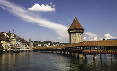 The Kapellbrcke, Luzern, Switzerland (Phil Maddison) Tags: luzern lucerne kapellbrcke switzerland swiss bridge 1333 wooden landscape colour reflection color town old canon 40d 1022mm wide angle