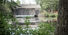 Across the Pond (Explored) (lclower19) Tags: osv sturbridge massachusetts pond coveredbridge tram horses water summer atsh