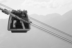 Cabrio(let) Cable Car (Norbert Eder) Tags: transportation transport switzerland cabrio landscape monochrome cablecar lucerne cable mountains black blackandwhite car swiss mountain white stans nidwalden ch