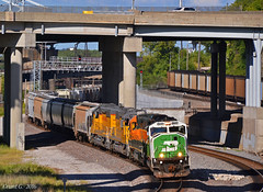 """Westbound Transfer in Kansas City, MO (""""Righteous"""" Grant G.) Tags: up union pacific railroad railway locomotive train trains west westbound transfer kansas city missouri burlington northern bnsf bn power emd"""
