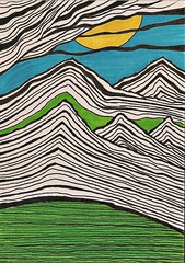 Landscape (ElDel777) Tags: drawing art landscape sun mountains ink penandink inkdrawing card doodle abstractart lines scenery countryside clouds