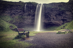Seljalandsfoss (murphyz) Tags: longexposure travel black glass canon bench landscape waterfall iceland filter seljalandsfoss phototgraphy murphyz