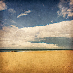 Beach & sky (manganite) Tags: sky holiday seascape color texture beach clouds photoshop vintage catchycolors germany landscape geotagged iso200 nikon holidays colorful europe tl horizon grain vivid overlay northsea highsaturation cropped d200 noise textured lightroom f63 baltrum niedersa
