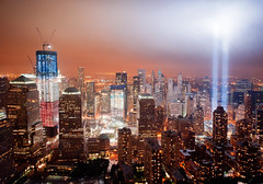WTC Tribute In Lights From Above (noamgalai) Tags: nyc usa ny newyork memorial manhattan worldtradecenter 911 terror twintowers wtc september11 tributeinlight lightbeams 911memorial lightbeam freedomtower tributeinlights noamgalai