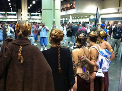 Slave Leias at Shoot-a-Trooper 6 (ridersinblack1970) Tags: county orange starwars costume orlando yoda lego florida cosplay arc lucasfilm center celebration darth empire convention jedi scifi stormtrooper 501st imperial boba lightsaber windu vader sith trilogy leia slave c6 hansolo jango fett kenobi cvi