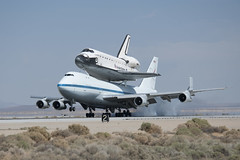 Endeavour Atop SCA Lands At Edwards (ED12-0316-11) (NASA HQ PHOTO) Tags: ca usa nasa edwards spaceshuttle flyover edwardsairforcebase 747shuttlecarrieraircraftsca drydenflightresearchcenterendeavour tomtschida