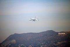 Endeavour Space Shuttle and the Hollywood Sign (intellichick) Tags: losangeles space science nasa hollywood shuttle hollywoodsign spaceshuttle dtla endeavour downtownlosangeles laendeavour2012