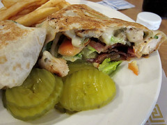 Chicken, Bacon & Swiss Wrap at Pine Cone Restaurant 9-20-12#2 (anothertom) Tags: brooklyn restaurant wrap iowa truckstop fries pickles independentlyownedrestaurants pineconerestaurant canonpowershots95