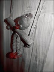 Hanging Around (Dead  Air) Tags: blackandwhite closet puppet totem charm littleman hanging wardrobe woodgrain marionette coloraccentmode