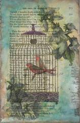 Mail Art 249 (Danielle Maret) Tags: art birds post mail mixedmedia postcard swap mailart papernapkins bookpage swapbot daniellemaret
