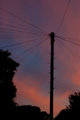 Telecommunications at sunset (Kirkleyjohn) Tags: sunset sky silhouette atardecer sonnenuntergang steps prdosol telegraphpole telephonewires coucherdusoleil