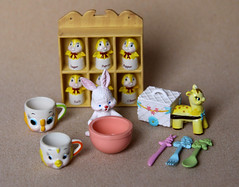 My favorite Re-ment set! (Dollie Nightmare) Tags: cute bunny kitchen birds japan set fairytale vintage japanese miniatures knife fork spoon bowl cups kawaii giraffe rement dollhouse spicerack tableware twittering twitteringinthekitchen
