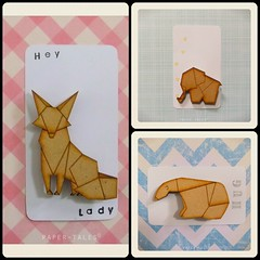 Origami-style Animal Brooches (all things paper) Tags: bear elephant origami brooch jewelry fox lasercut origamijewelry