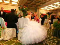 Chatting (E Pulejo) Tags: girls white ball table carpet chat dress debutante