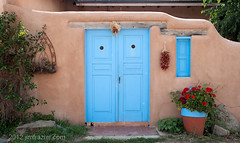 Blue Doors (Jim Frazier) Tags: plaza old trip travel windows vacation brown newmexico detail art heritage history lines architecture buildings beige nikon doors pov decay tan structures landmarks sunny august bluesky tourist symmetry architectural historic study adobe worn shutters historical symmetrical weathered taos traveling nm perpendicular centered stucco q3 attraction 2012 rundown ranchodetaos lightroom horizontallines historicdistrict headon verticallines d90 nationalregisterofhistoricplaces centralperspective nrhp ldoctober ©jimfraziercom ld2012 20120803westernroadtrip 20120810taoschurch wmembed ranchodetaosplaza